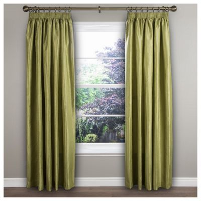 Ripple Texture Lined Pencil Pleat Curtains, Cactus Green (46 x 54'')