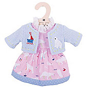 Bigjigs Toys Pink Polar Bear Rag Doll Dress and Cardigan for 34cm Soft Doll - Suitable for 2+ Years