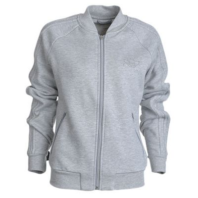 adidas Originals Womens Fleece Track Jacket Grey - UK 10