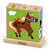 Viga Wooden Farm Animals Stacking Cube Puzzle
