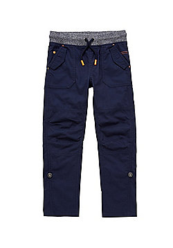 F&F Ribbed Waist Combat Trousers - Navy