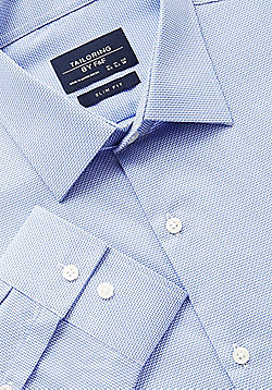 F&F Textured Easy Iron Slim Fit Shirt - Blue