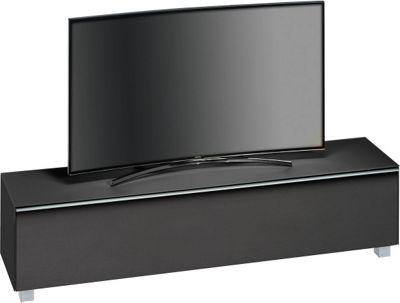 Maja Black Matt Glass TV Stand for up to 80 inch TVs