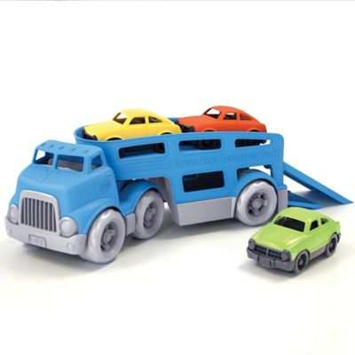 Green Toys Double-Decker Car Carrier with Two Working Ramps, Detachable Trailer and Three Mini Cars