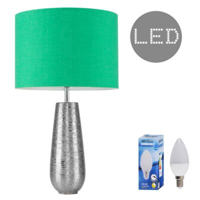 Hastings 65cm Touch Dimmer LED Table Lamp - Silver & Green