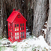 Red Christmas House Lantern - Christmas Candle Holder