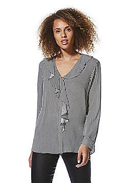 F&F Striped Ruffle Shirt - Black & White