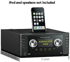 PURE SIROCCO 550 DAB/FM/CD/USB/SD MICRO HIFI SYSTEM WITH iPOD DOCK (CONSOLE ONLY, NO SPEAKERS INCLUDED)