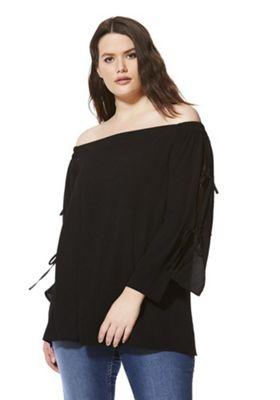 Lovedrobe Bardot Plus Size Top Black 18