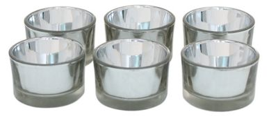 Set of 6 Silver Glass Tealight Holders