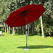 Outsunny 24 LED Light Parasol Tilt Sun Umbrella w/ Hand Crank (Wine Red)