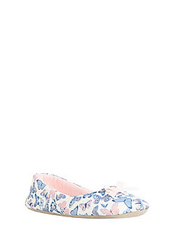 F&F Butterfly Print Ballerina Slippers - Cream