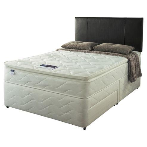 Silentnight Double Divan Bed Set, Miracoil Pillowtop Fiji, Non-Storage
