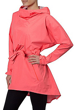 Zakti Pronto Poncho Lightweight with Flattering Belted Waist and Adjustable Hood - Coral