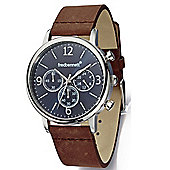 Fred Bennett Mens Multi Time Zone Wrist Watch with Black Face and Brown Strap - Z951