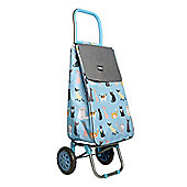 Sabichi Crazy Cats Shopping Trolley, Piped Edging, Thermal Insulation Liner, 2 Wheels, 40L