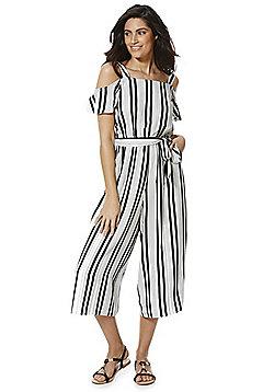 F&F Striped Cold Shoulder Culotte Jumpsuit - Black & White