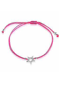 Hot pink string bracelet with silver pave open star