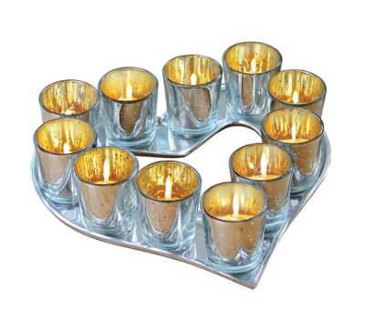 Heart Shape Candle Holder with Set of 11 Tealight Votives