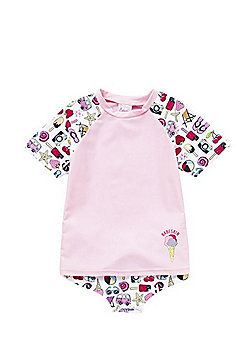 Babeskin Ice Cream Print UPF 50+ Protection Rash Vest and Briefs Set - Pink