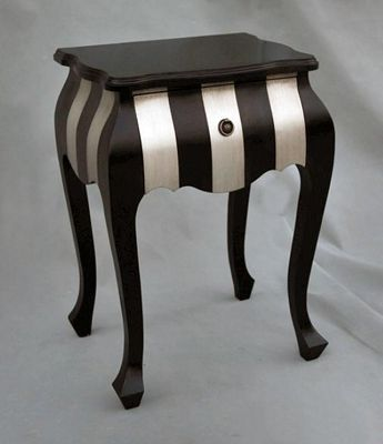 Black and Silver Bedside Table Width: 49cm