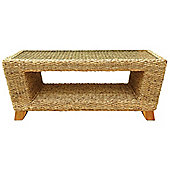 Charles Bentley Natural Water Hyacinth Conservatory Coffee Table With Glass