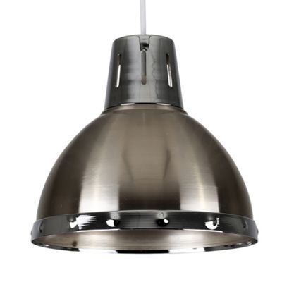 Portishead Industrial Style Domed Ceiling Light Shade, Brushed Chrome