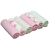 Cuddles Collection Pack of 6 Muslin Squares (Mixed Designs Pink)