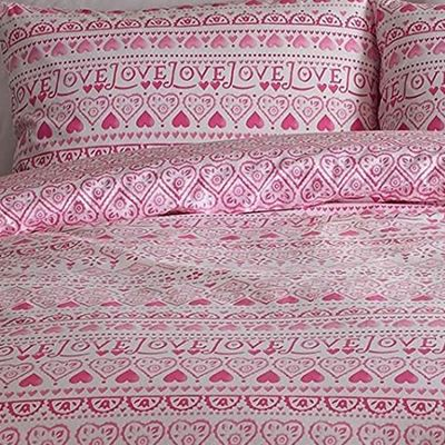 Emma Bridgewater Embroidery Sampler, 100% Cotton Super King Duvet in Pink