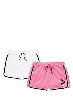 F&F 2 Pack of Tipped Jersey Shorts - Pink & White