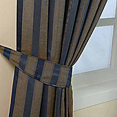 Homescapes Blue and Gold Jacquard Tie Back Pair Modern Striped Design