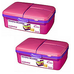 2 Sistema Pink 1.5L Quaddie Lunch Boxes
