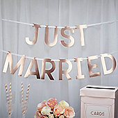 Geo Blush Rose Gold 'Just Married' Wedding Bunting - 1.5m