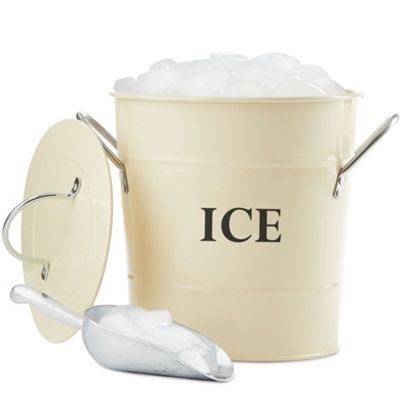 Andrew James Vintage Ice Bucket with Lid and Serving Scoop - 3L Capacity - Classic Cream