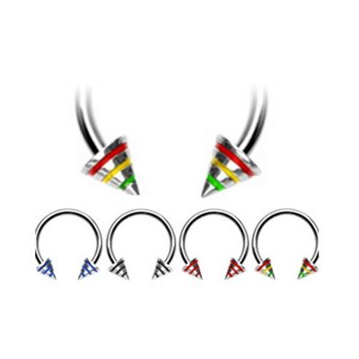 Urban Male Pack Of Four Surgical Stainless Steel Body Piercing Circular Barbells Colour Spikes