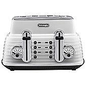 De'Longhi CTZ4003.W Scultura 4 Slice Retro Classic Toaster - White