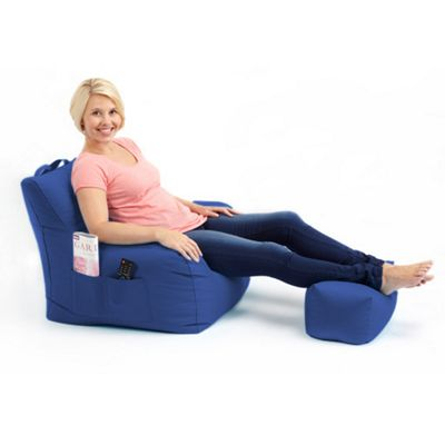 Loft 25 Water Resistant Bean Bag Armchair with Footstool - Blue