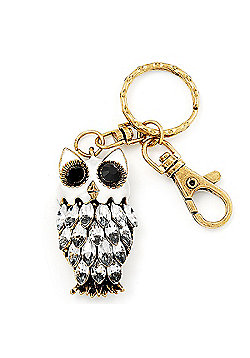 Cute White Enamel Diamante Owl Keyring/ Bag Charm (Burn Gold Plated Metal)