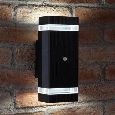 Auraglow Dusk Till Dawn Sensor Double Up & Down Outdoor Wall Security Light - Black - Cool White