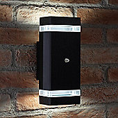 Auraglow Dusk Till Dawn Sensor Double Up & Down Outdoor Wall Security Light - Black - Cool White