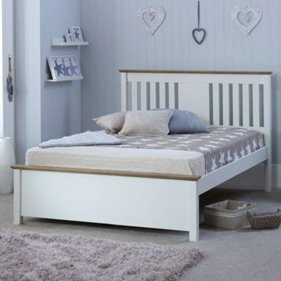 Happy Beds Chester Wood Low Foot End Bed with Open Coil Spring Mattress - White and Oak - 4ft6 Double