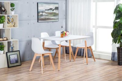 Anton White Wood Rectangle Dining Table And 4 White Stockholm Chairs