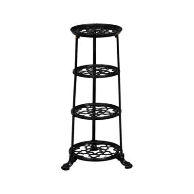 Cast Iron 4 tier Saucepan Stand - Black