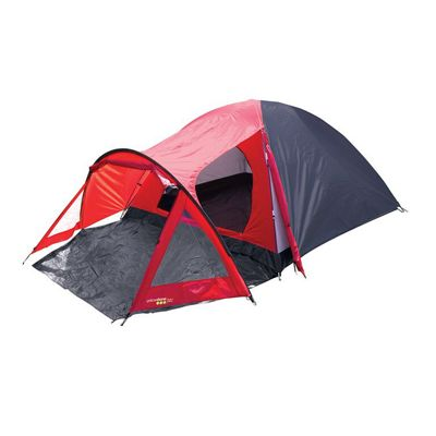 Yellowstone 4 Man Peak Dome Tent with Porch Red