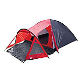 4 Man Peak Dome Tent with Porch - 210+130 x 205 x 140cm Blue / Red - Yellowstone