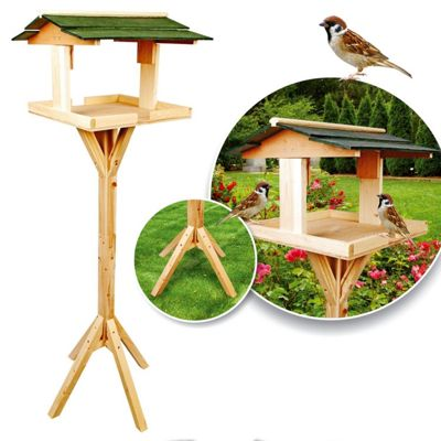 Parkland Traditional Wooden Bird Table Garden Birds Feeder Feeding Station Free Standing