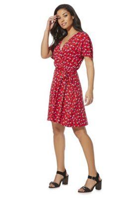 F&F Floral Wrap Tea Dress Red 16