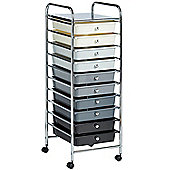 VonHaus 10 Drawer Monchrome Ombre Mobile Storage Trolley