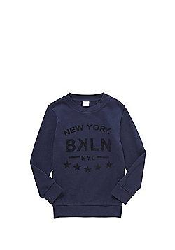 F&F Embossed NYC Slogan Sweatshirt - Navy