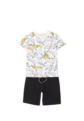 F&F Banana Print T-Shirt and Shorts Set White/Multi 12-18 months